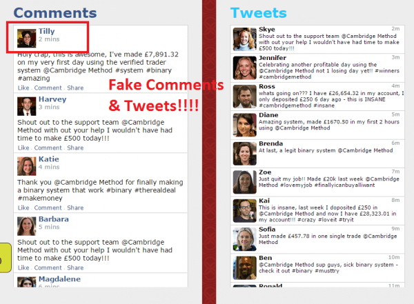 fake facebook comments and tweets