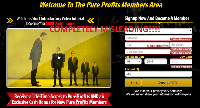 pure profits fake testimonials