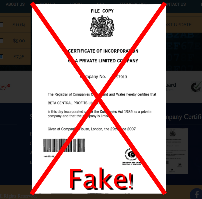 fake company documents meprofits