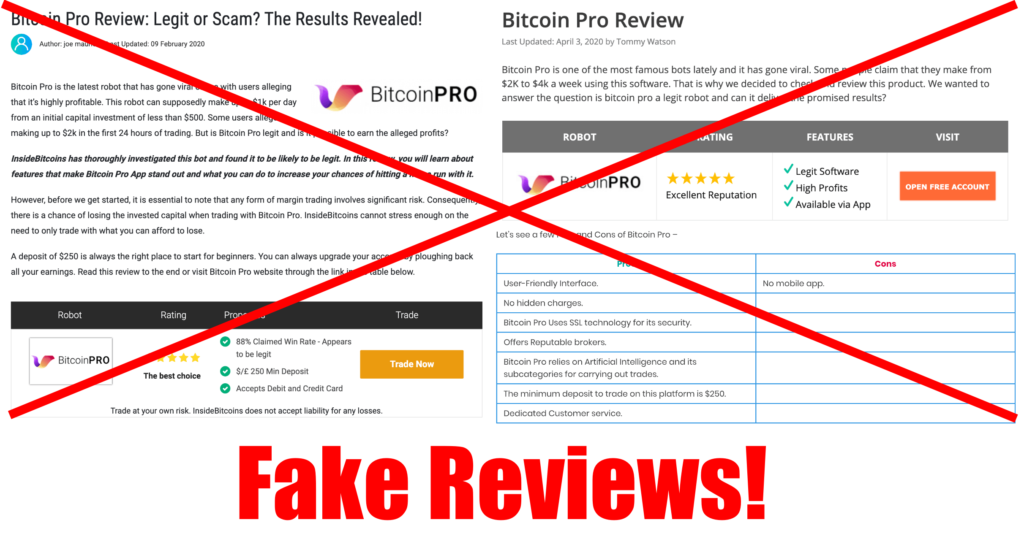bitcoin pro fake reviews