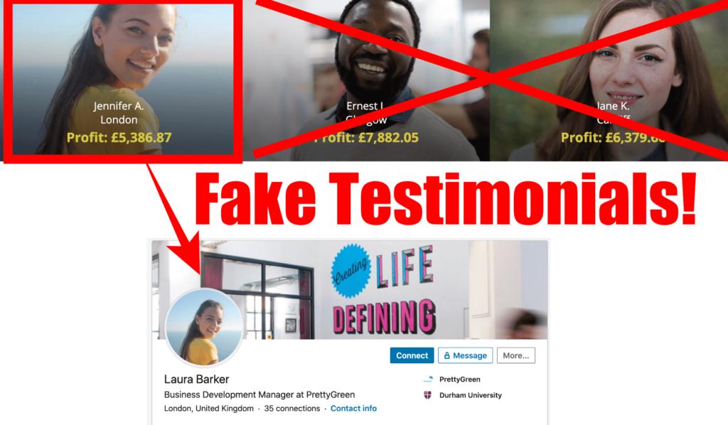 fake testimonials bitcoin pro