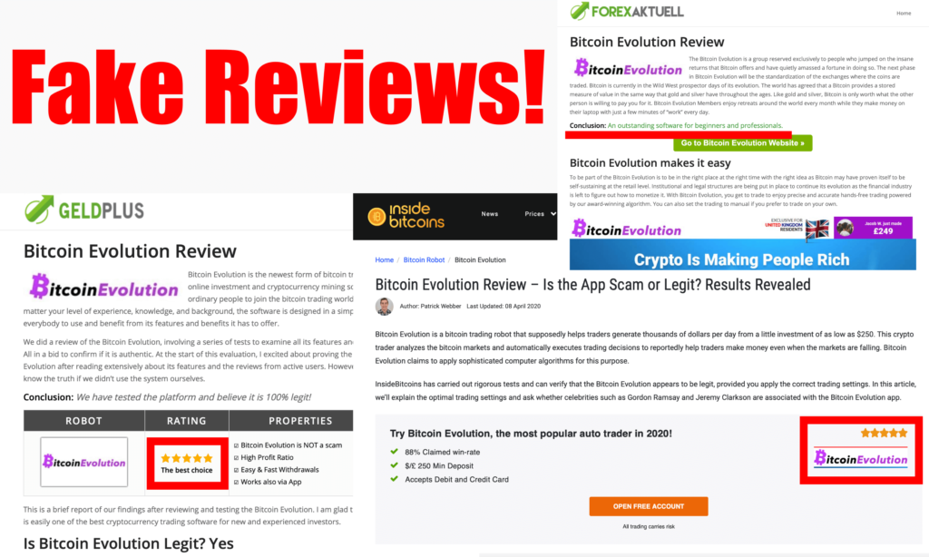 fake reviews bitcoin evolution